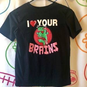 "Girls ""I ❤️ Your Brains"" Zombie T-Shirt Size M"